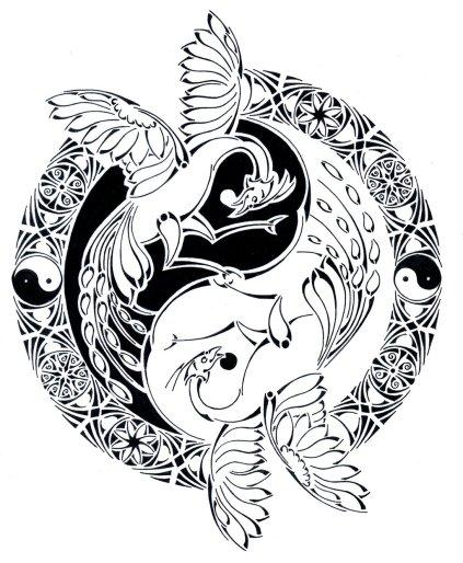tribal_yin_yang_phoenix_battle_by_curvy_tribal-d7bgeeu